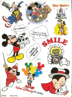 Disney Scrapbooking Stickers - Tourist Mickey Mouse Sheet - 9 x 7