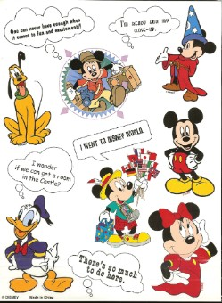 Disney Scrapbooking Stickers - Tourist Minnie Mouse Sheet - 9 x 7