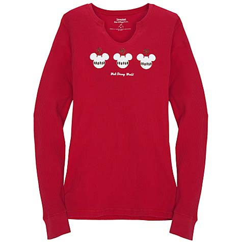 Disney WOMENS Christmas Shirt - Red Thermal - Mickey Ornaments. Tap to  expand b8d318be7f