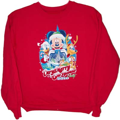 disney adult shirt very merry christmas party 2010 red sweater