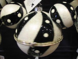 Disney Ornament - Mickey Ears Large - Glass Gift B/W