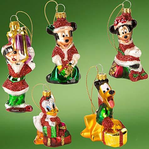 Disney Christmas Ornament Set - Glass Santa Mickey and Friends