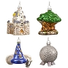Disney Christmas Ornament Set - Four Park Icons - Sorcerer's Hat Magic Castle