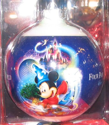 Disney Christmas Ball Ornament - Four Parks One World Sorcerer Mickey