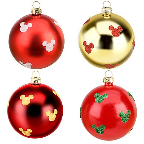 disney christmas ornament set shatterproof red and gold mickey mouse