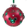 Disney Christmas Ornament -  Red Ball With Jeweled Mickey Ears