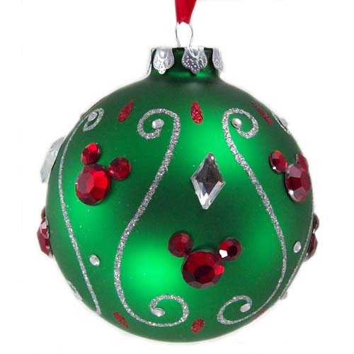 Disney Christmas Ornament Green Ball With Jeweled Mickey Ears