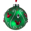Disney Christmas Ornament -  Green Ball With Jeweled Mickey Ears