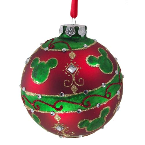 disney christmas ornament red and green ball with mickey ears and jewels - Disney Christmas Ornaments