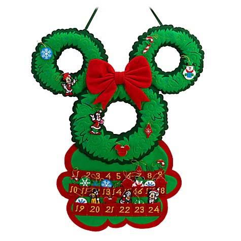 disney christmas advent calendar santa mickey mouse ears wreath - Disney Christmas Ears