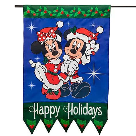 Disney Flag Banner Christmas Santa Mickey And Minnie Mouse
