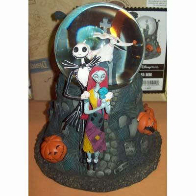 disney snow globe nightmare before christmas graveyard