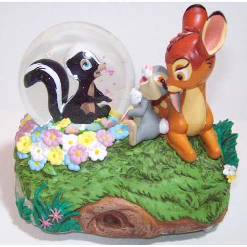 disney snow globe bambi thumper and flower