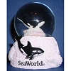 SeaWorld Snow Globe - Black and White Orca Whale Glitter - Small