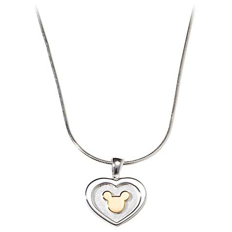 Disney Necklace - Sterling Silver 2 Tone Heart Pendant Mickey Mouse