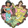 Disney Princess Pin - Heart - Jasmine, Tiana, Belle