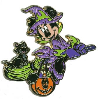 Disney Halloween Pin - Halloween 2011 - Minnie Witch and Figaro