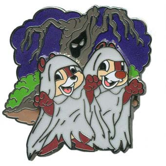 Disney Halloween Pin - Ghoulish Graveyard - Chip 'n Dale as Ghosts