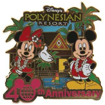 Disney 40th Anniversary Pin Resorts Polynesian Resort