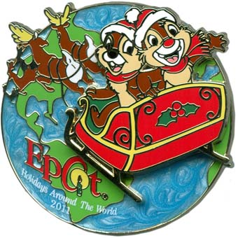 Disney Holidays Around The World Pin - 2011 Chip 'n Dale Sleigh