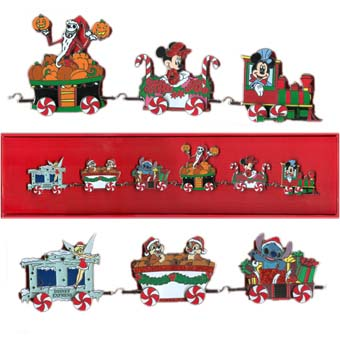 disney christmas boxed pin set disney express train six pins - Disney Christmas Train