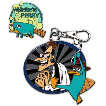 Disney Lanyard Medal and Pin - Where's Perry - Phineas and Ferb