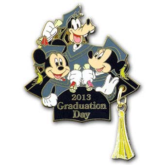 Disney Graduation Day Pin - 2013 Mickey, Minnie, Goofy