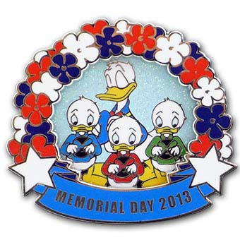 Disney Memorial Day Pin - 2013 Donald Duck with Hewy Dewy and Louie
