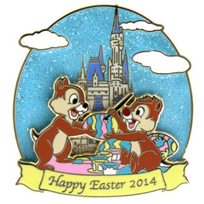 Disney Easter Pin - 2014 Happy Easter Chip n' Dale