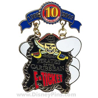 Disney Pin Trading 10th Anniversary Pin - Tribute - E-Ticket POTC