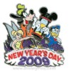 Disney New Year's Day Pin - Goofy, Donald Duck, Tinker Bell