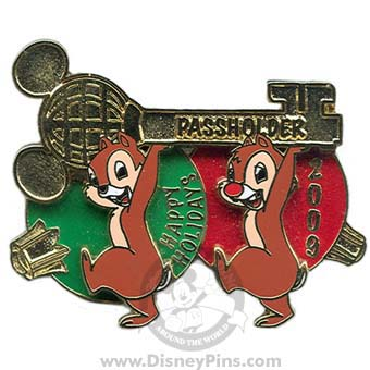 Disney Passholder Pin - 2009 Happy Holidays - Chip and Dale