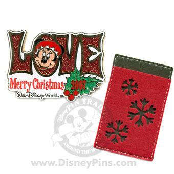 Disney Merry Christmas Pin - LOVE Minnie Mouse Card Holder