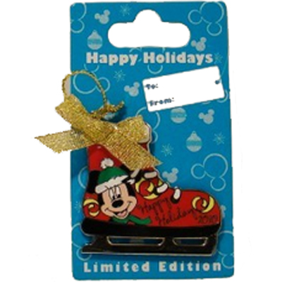Disney Happy Holidays Pin - Ice Skate Ornament 2010 - Mickey Mouse