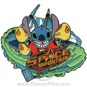 Disney E-Ticket Attractions Pin - Space Mountain - Stitch