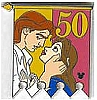 Disney Cast Lanyard Pin - 50th Banner Princess - Belle and Prince