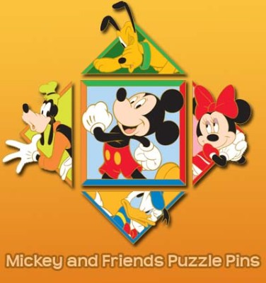 Disney Mickey and Friends Puzzle Pin - Complete Set 2008