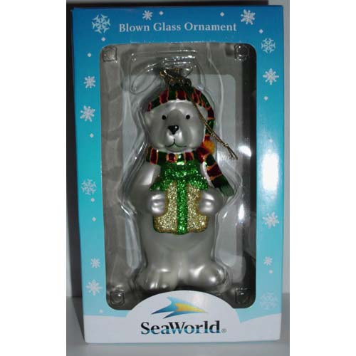 SeaWorld Christmas Ornament - Blown Glass - Christmas Polar Bear