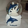 SeaWorld Snow Globe - Blue and White Glitter Dolphin Large