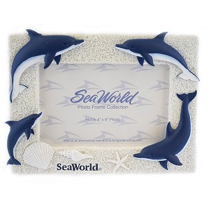 SeaWorld Picture Frame - Blue and White Glitter Dolphin 6x4