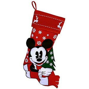 Disney Christmas Holiday Stocking - Nostalgic Red and White - Mickey