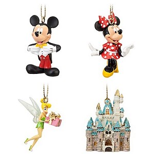 Disney Christmas Ornament Set - Mickey Minnie Tinker Bell and Castle