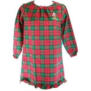Disney GIRLS Nightgown - Santa Minnie Christmas Plaid