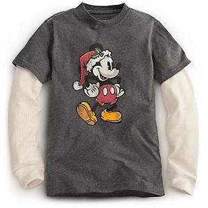 Disney Child Boys Shirt - Santa Mickey Mouse - Double-Up Long Sleeve