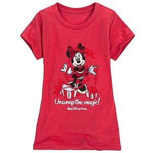 Disney Girls Shirt - Santa Minnie - Christmas Unwrap the magic