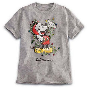 Disney Child Shirt - Santa Mickey Christmas Lights