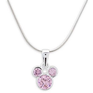 Disney Necklace - Mickey Mouse Icon Crystal Pendant - Pink
