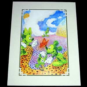 Disney Artist Print - Randy Noble - Flower and Garden Topiarys - Mickey and Minnie