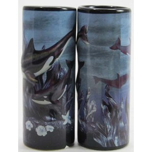 SeaWorld Tall Shooter Shot Glass - Underwater Orca Whales