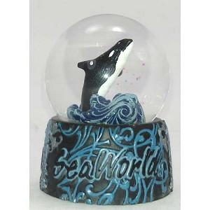 SeaWorld Snow Globe - Ornate Orca - Shamu Killer Whale